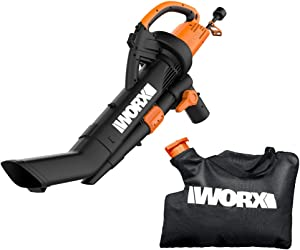 WORX WG509 TRIVAC 12 Amp 3-In-1 Electric Blower/Mulcher/Vacuum with Multi-Stage All Metal Mulching System,Black