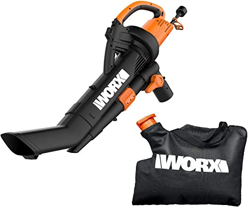 WORX WG509 TRIVAC 12 Amp 3-In-1 Electric Blower Mulcher Vacuum with Multi-Stage All Metal Mulching System,Black