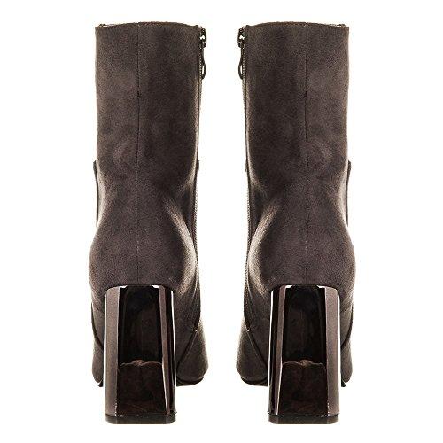 REGAN. Metallic Heel Ankle Boot With Side Zip GREY SUEDETTE cEcIXOVDpT