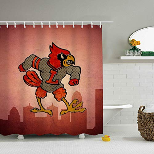 Nicholas Dunlop Stylish Living Elegant Bathroom Shower Curtain Liner for Home/Traval/ Hotel with Hooks,Clear with Louisville Cardinals Curtain for Kids,66