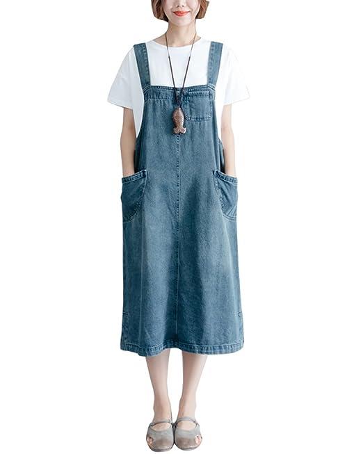 Quge Mujer Tallas Grandes Peto Vestidos Vaqueros Tirantes Largos Casuales Fiesta Bolsillos Denim Azul L