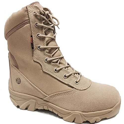 BE DREAMER Men's Tactical Military Combat Boots Side Zipper Army Outdoor Hiking High Top Shoes