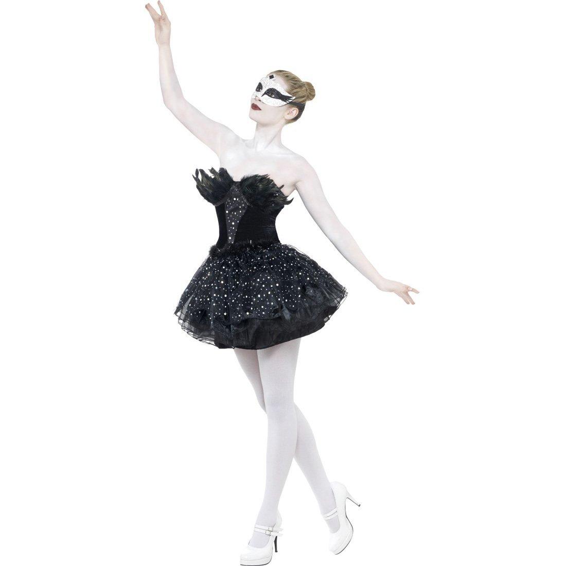 NET TOYS Gothic Kostüm Schwarzer Schwan S 36/38 Damen Kleid Tanzkostüm Ballettkostüm Ballettkleid