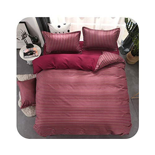 Geometric Bed Linen Twin/Full/Queen Size Bedding Set Reactive Printing Bedclothes 3 / 4pcs Duvet Cover + Flat Sheet + Pillowcase,Dark red Stripe,Full,Flat Bed Sheet