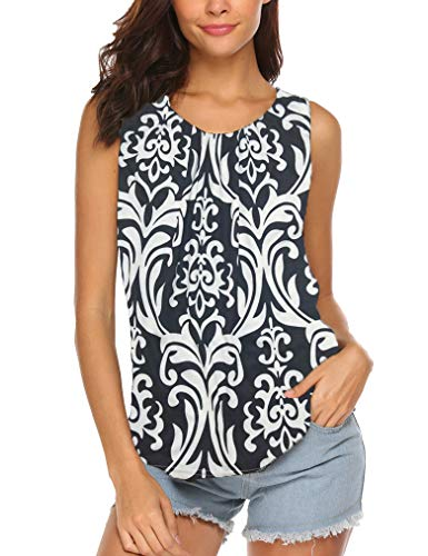 (Women Summer Sleeveless Paisley Printed Tank Tops Keyhole Shirts Black Floral XL)