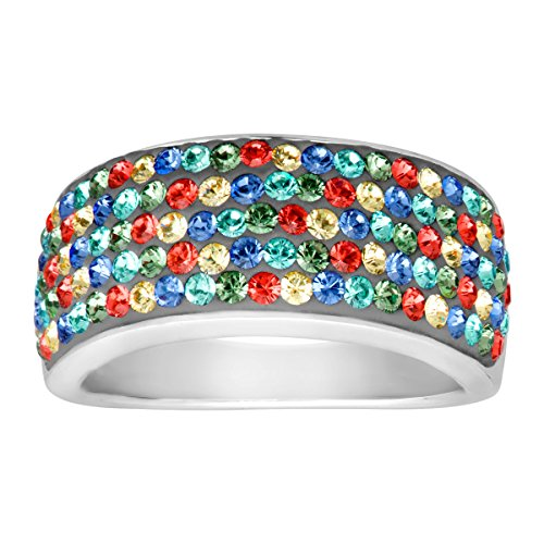 Crystaluxe Confetti Band Ring with Swarovski Crystals in Sterling Silver