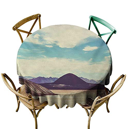(Restaurant Tablecloth 50 inch Landscape,Photograph Northern Brazilian Plateau Wanderlust Serene in Abandoned Rocks Paint,Multicolor Suitable for Indoor Outdoor Round Tables)