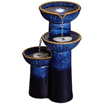 """3-Bowl Ceramic Blue Cobalt 26 3/4"""" High LED Fountain"""