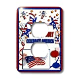 3dRose lsp_20170_6 4th of July Celebrate America Flag Stars And Firecrackers 2 Plug Outlet Cover
