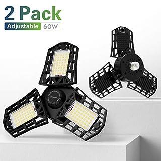 Freelicht 2 Pack LED Garage Lights 60W Deformable E26/E27 Garage Ceiling Light Fixture, 6000LM Three-Leaf Shop Lights for Garage, 6500K Triple Glow Garage Light for Workbench, Black
