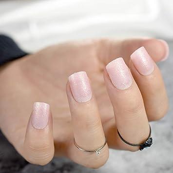 Amazon Com Light Pink Natural Uv Acrylic Nails Short Full