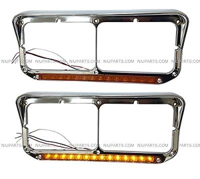 Kenworth Peterbilt Western Star Headlight Bezel LED Amber Chrome Pair