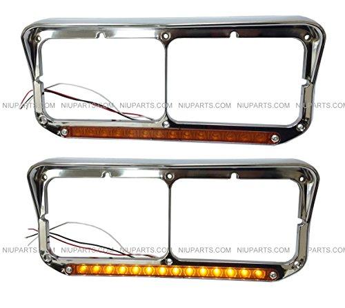 Kenworth-Peterbilt-Western-Star-Freightliner-Headlight-Bezel-with-12-AmberAmber-LED-Light-Strip-Chrome-Drive-Passenger-Side