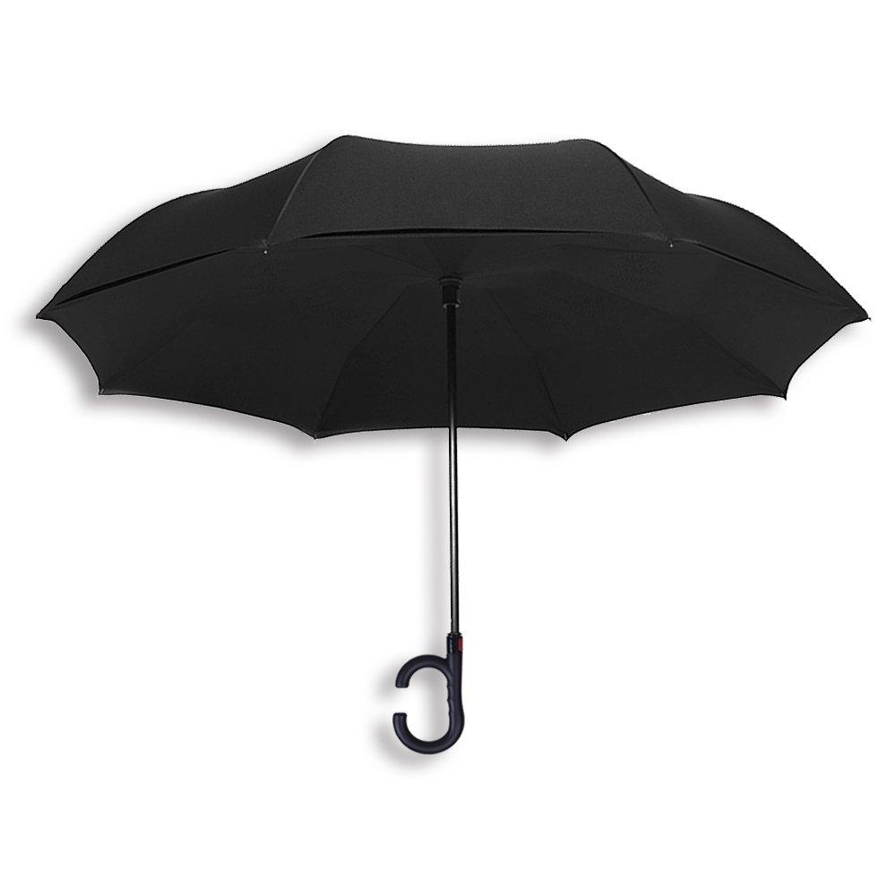 Reversion Regenschirm Herren automatik Stockschirm Schirm Damen Schwarz Groß TOPHGDIY - Winddicht Golfschirm Double Layer Innovativ mit C Griff inverted Reverse Umbrella