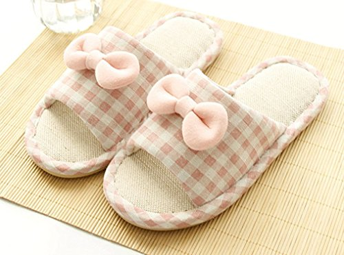 Cattior Dames Boog Comfy House Slippers Slaapkamer Slippers Roze 2