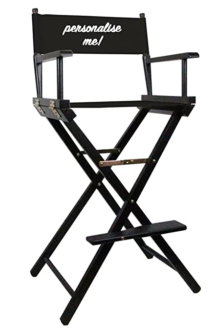 Black Premium Tall Makeup Chair with Personalisation \u0026 FREE Spare Canvas Set