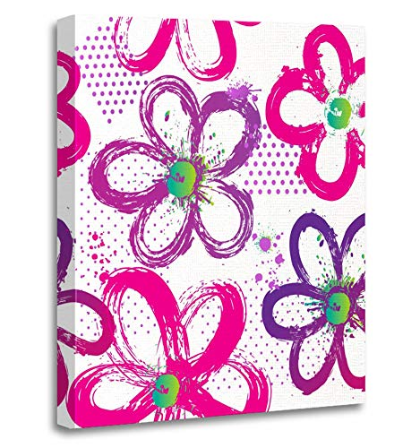 (Emvency Painting Canvas Print Artwork Decorative Print Abstract Floral for Girl with Dots and Flowers in Purple Pink and Green Colors Wooden Frame 24x32 inches Wall Art for Home Decor)