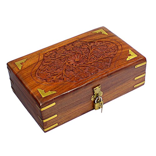 Handmade Decorative Wooden Jewelry Box With Free Lock  Key Jewelry Organizer Keepsake Box Treasure Chest Trinket Holder Lock Box Watch Box Storage Bo…