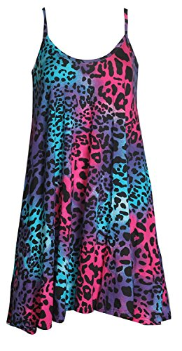 Forever Women's Scoop-Neck Animal-Print Sleeveless Short Fit-and-Flare Dress, Leopard Neon Colourful, 6/8 (Dress Print Short Animal)
