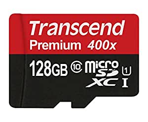 Transcend 128GB MicroSDXC Class10 UHS-1 Memory Card with Adapter 60 MB/s (TS128GUSDU1PE)