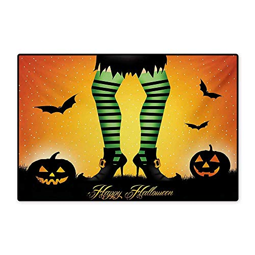 Halloween Floor Mat for Kids Cartoon Witch Legs with Striped Leggings Western Concept Bats and Pumpkins Print Floor Mat Pattern 32