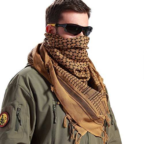 Free Scarf - FREE SOLDIER 100% Cotton Military Shemagh Tactical Desert Keffiyeh Head Neck Scarf Arab Wrap(Coyote Brown)