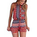 Choies Women's Polyester Red Cut Out Back Bohemian Casual Loose Romper Playsuit S
