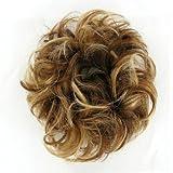 Hair Scrunchie Wrap Hair Piece Messy Bun 17 In Chestnut Brown With Light Blond Highlights 6bt27b