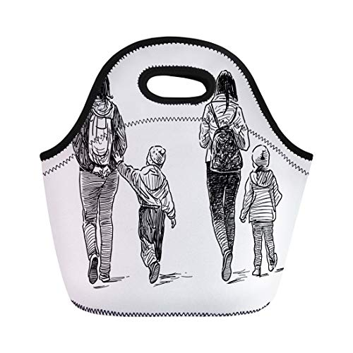 Semtomn Lunch Bags Sketch Backpack Young Women Their Kids on Stroll Child Neoprene Lunch Bag Lunchbox Tote Bag Portable Picnic Bag Cooler Bag