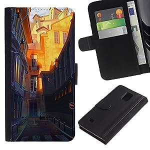 iBinBang / Flip Funda de Cuero Case Cover - Arquitectura de la Ciudad Vieja - Samsung Galaxy Note 4 SM-N910