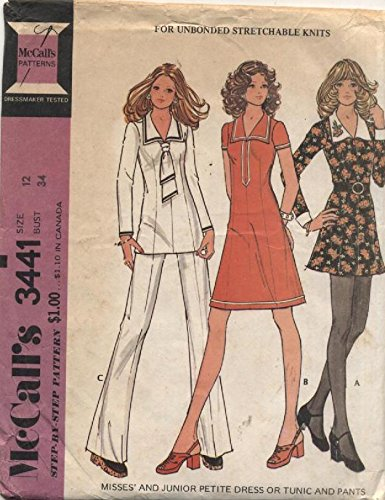 Vintage McCalls Sailor Top, Petite Dress, Tunic and Pants Sewing Pattern 3441 (Sailor Pants Pattern)