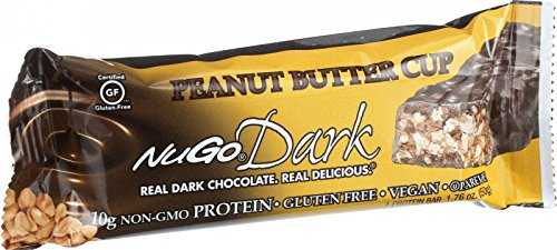 NuGo Nutrition Bar - Dark - Peanut Butter Cup - 1.76 oz - Case of 12 - Low Fat - Dairy Free - Wheat Free - Vegan