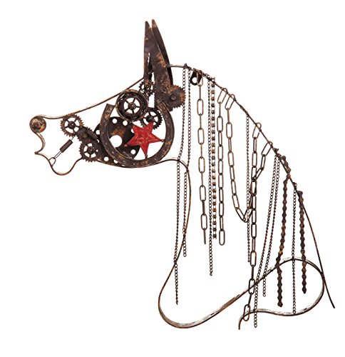 Gifted Living Medium Rustic Metal Horse Wall Décor with Chain Mane For Sale