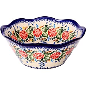 Polish Pottery Ceramika Boleslawiec 0424/280 Royal Blue Patterns with Red Rose Motif Bowl Viki 2, 6-1/2-Cup