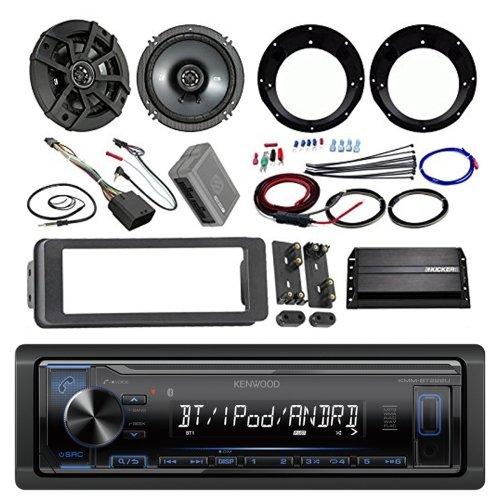 Kenwood Bluetooth Stereo Receiver Bundle, 2 Kicker 6.5 Speaker, Motorcycle Speaker Adapter, 200 Watt Amplifier, Amp Wiring Kit, Dash Trim Kit, 98-13 Harley Handle Bar Conroller, Enrock - Fuse Anl Holder Kicker