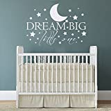 """Wall Decal Decor Dream Big Little One with Stars Baby Nursery Wall Decal Sticker - Inspiring Words Vinyl Wall Deal Quotes Nursery Kids Room Decor(brown, 15""""h x22""""w)"""