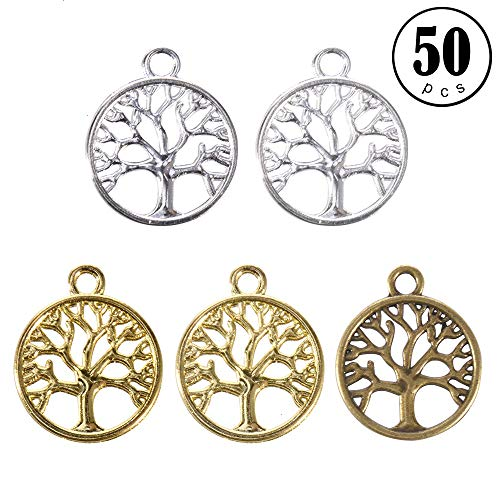 Pendants for Jewelry Making, Pack of 50 Alloy Tree of Life Charms Jewelry Findings Making Accessory for DIY Necklace Bracelet Earrings