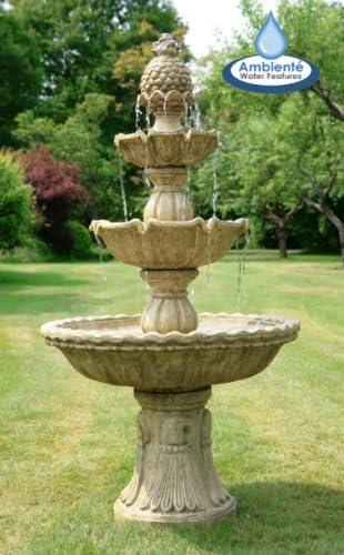 Ambienté Fuente de Agua Real de 3 Niveles Jardin - Acabado Vintage - 150cm: Amazon.es: Jardín