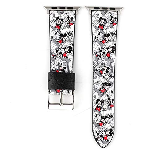 Lovely Cartoon Style Leather Girls Boys Replacement Band Compatible with Apple Watch Series 4 44mm and Series 3/2/ 1 42mm - White Mickey