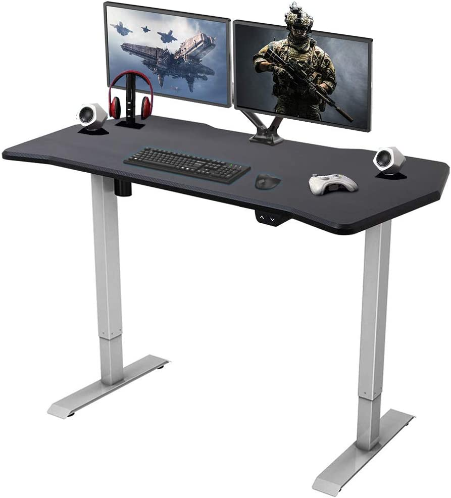 FlexiSpot Height Adjustable PC Gaming Desk, 55 x 27 Inches, Computer Table for E-Sports Gamer, Gray Frame with Game Top