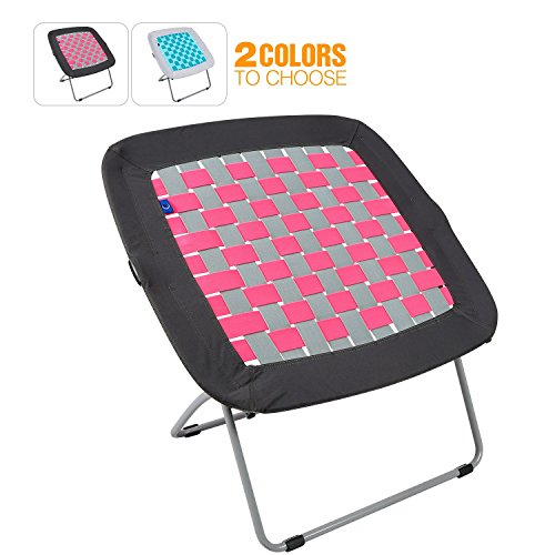 REDCAMP Folding Bungee Web Chair for Teens Kids Adults, 31x31.5x31.5 inches, Grey&Pink by REDCAMP