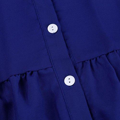 ~ Shirt Grande Femme Manche Chemise Couleur Unie lgant OL Chemisier Wolfleague Revers Mousseline S Chemises de Longue 5XL Haut Femme Dcontracte T Taille Soie Bleu Mesdames gZx8waq