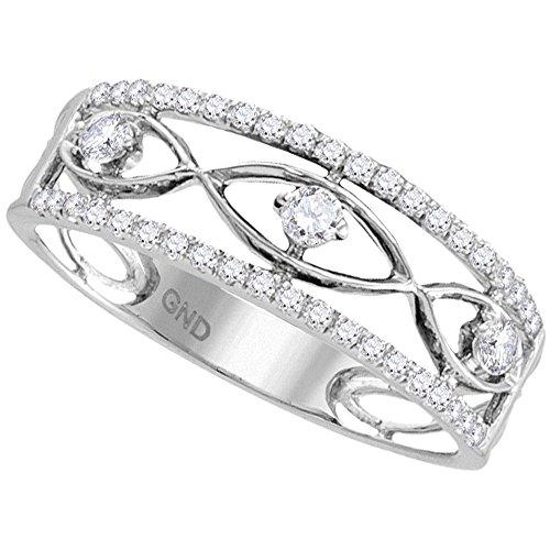 10k White Gold Three Stone Diamond Fashion Band Evil Eye Ring Semi Eternity Style Polished 1/3 ctw Size (3 Stone Pave Diamond)