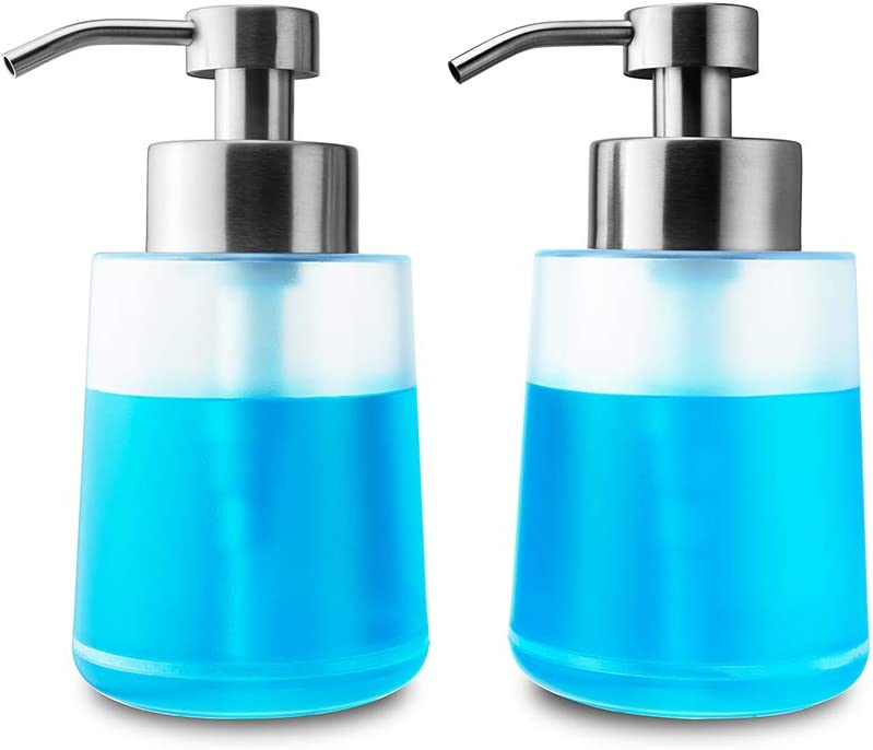 Lusuroi Plastic Hand Soap Dispenser with Pump, Refillable Dish Lotion Liquid Soap Dispenser for Kitchen, Bathroom, Countertop, Office, 2 Packs 15oz/450ml