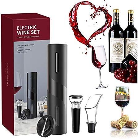 Abridor de vino 4 en 1 Juego, sacacorchos eléctrico Portátil, set sacacorchos electrico, con cortador de papel de aluminio, Tapón de Vino Silicona de Vacío y Vertedor de Vino