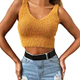 Women Cotton Sleeveless Short Sweater Tops Daoroka Ladies Sexy O-Neck Solid Jumper Pullover Casual Loose Tank Top Blouse Fashion Cute Autumn Winter Comfort Tunic T Shirt