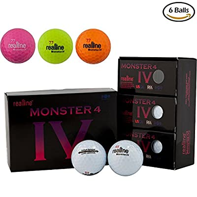 realline Monster 4 Golf Ball Ultra Distance for Driver Iron and Accuracy Balance Aligned Golf Ball for Putt Alignment Precision Putting Green Side Control - USGA R&A Rule Conforming - 6 Count