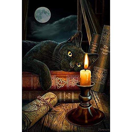 Werewtr Diamond Drawing Diamond Black Cat & Candle Mosaic Painting Cross Stitch Crystal Round Diamond Sets Decorative Embroidery,40Cmx50Cm ()