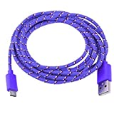 Vi.yo 1 Piece Micro USB 2M Nylon Braided Power Cable Data Braided for Android Samsung HTC Sony HP Smartphones(Purple)