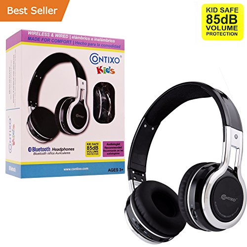 Contixo KB2600 Kid Safe 85db Foldable Wireless Bluetooth Headphone Built-in Microphone, Micro SD Card Music Player, FM Stereo Radio (Black) - Best Gift